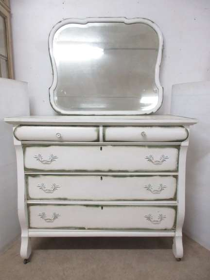 Antique Five-Drawer Dresser on Casters with a Mirror and Dovetail Woodworking, Matches Lot No. 36