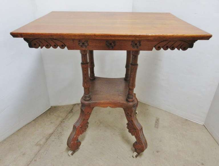 Eastlake Style Oak Lamp Table