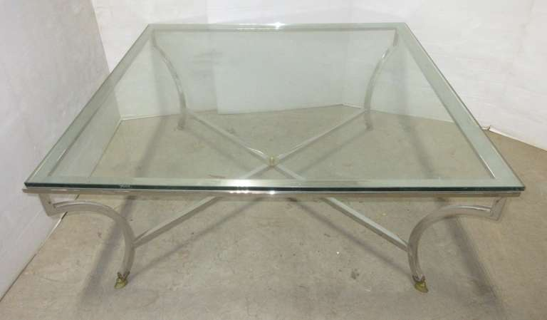 Stainless Steel Coffee Table with Brass Feet and Glass Top