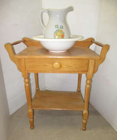 Antique Wash Stand with Water Basin