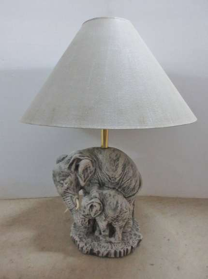 Mother and Baby Elephant Base Lamp with Shade