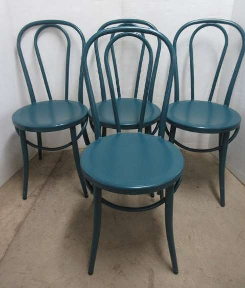 Set of (4) Teal Metal Dining Chairs