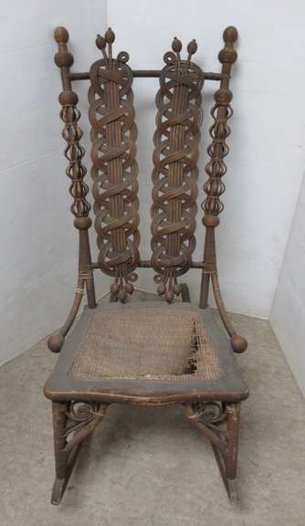 Antique Rocking Chair with Original Woven Seat, Haywood Tag on Bottom
