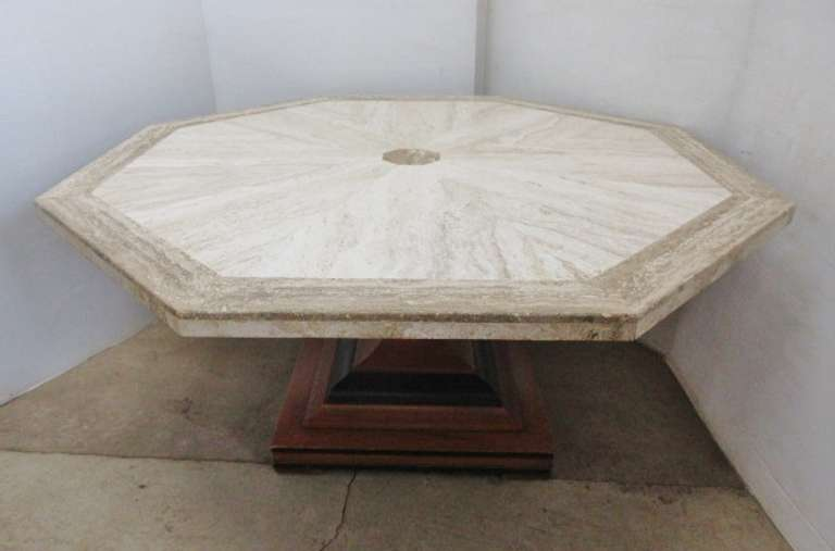 Octagon Coffee Table with Faux Marble Top and Wood Base
