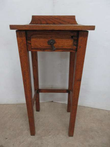 Antique Mission Oak Telephone Stand with Drawer
