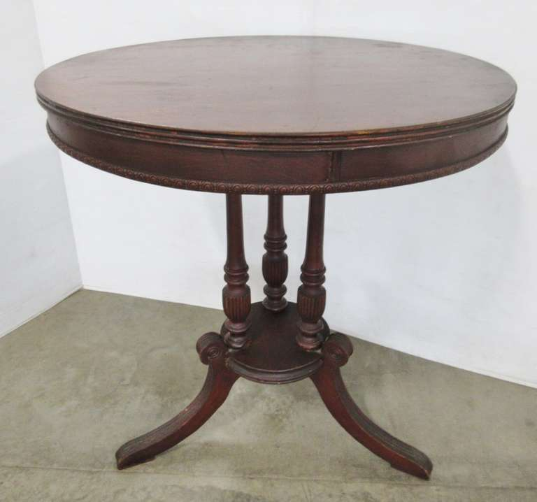 Antique Round Parlor Table, Possibly Mahogany Top