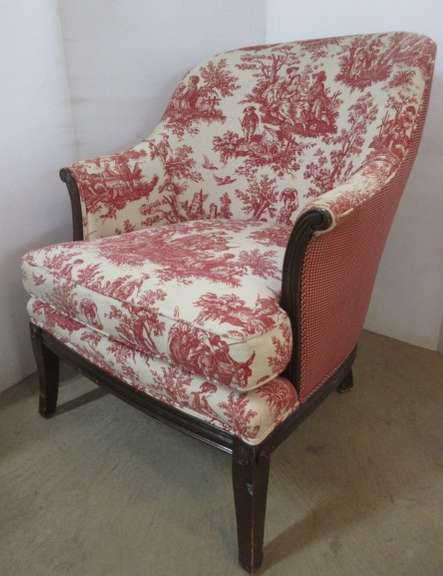Red and White Barrel Chair, Matches Lot No. 24