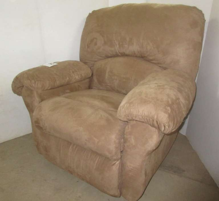 Oversized Suede Recliner Chair, Tan in Color