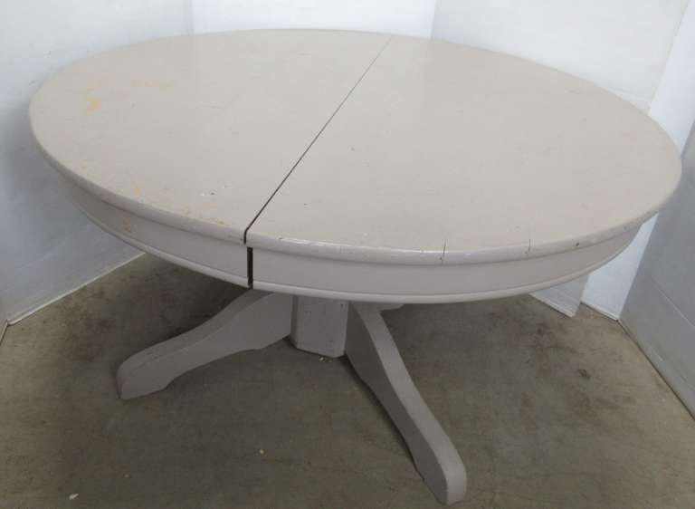 Antique Round Oak Painted Table