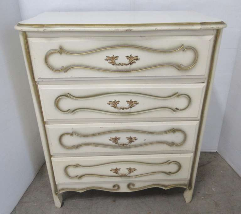 French Provincial White with Gold Trim Four-Drawer Dresser