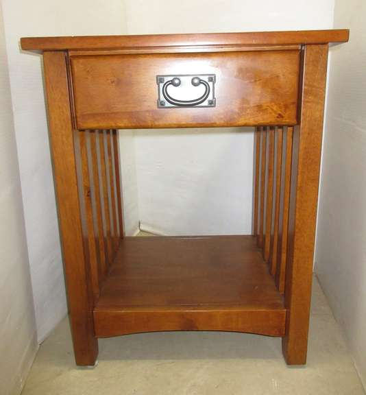 End Table, Mission Style, Polished Wood with Drawer