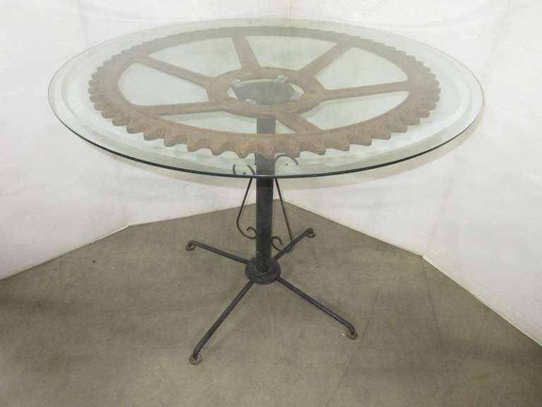 Steampunk Gear Table with Glass Top