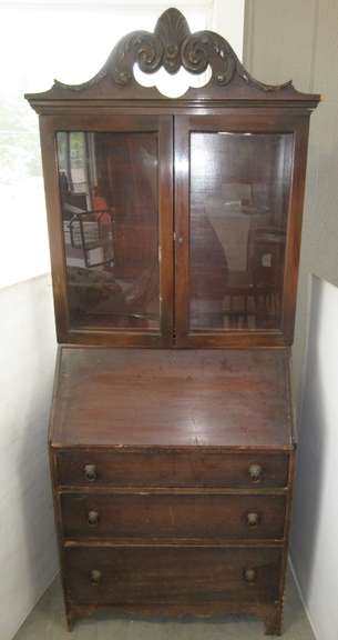 Secretary Hutch with a Pull-Out Drawer, All Glass is Original, Two Shelves in Glass Portion, Made in Grand Rapids, MI, Key in Pullout Drawer