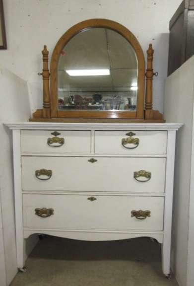 Oak Four-Drawer Dresser on Casters with Oak Mirror and Antique Hardware