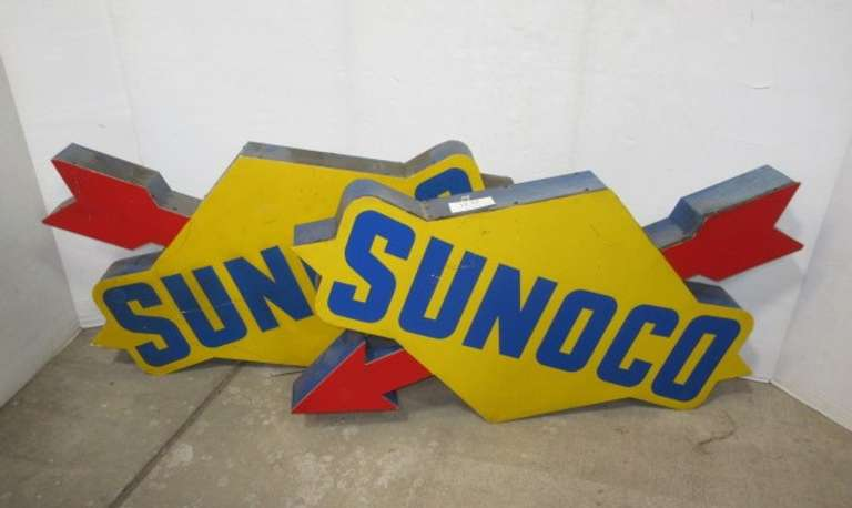 Albrecht Auctions | (2) Old Sunoco Gas Station Signs: Left and Right