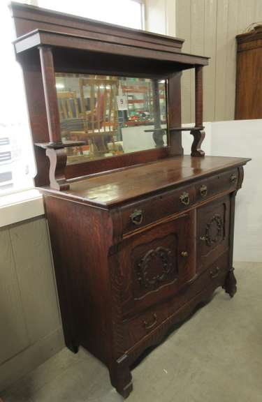 Antique Hutch with Beveled Mirror