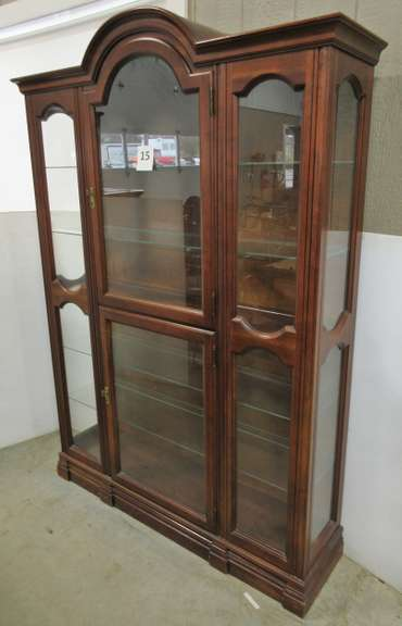Curio/China Cabinet, Manufactured by Jasper, Finished in Antique Fruitwood, Has Lights and Glass Shelves, Back is Removable to Remove Shelves