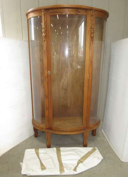 Older Curved Glass Display Cabinet with Key