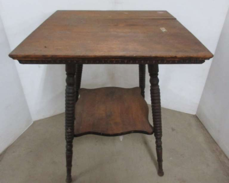 Antique Two-Tier Wood Table
