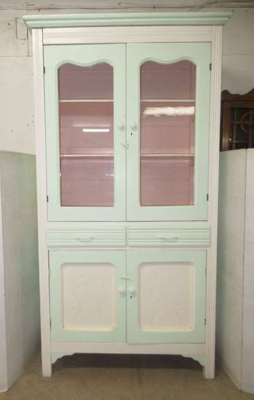 Antique Painted Hutch, White Exterior with Mint Green, Pale Pink Interior