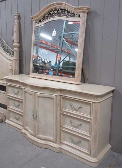 Stanley Furniture Dresser with Landscape Mirror, Has Six Drawers in Front and Three Drawers Behind Doors in Center, Top of Mirror Matches Headboard, Matches Lot Nos. 1, 3, and 4