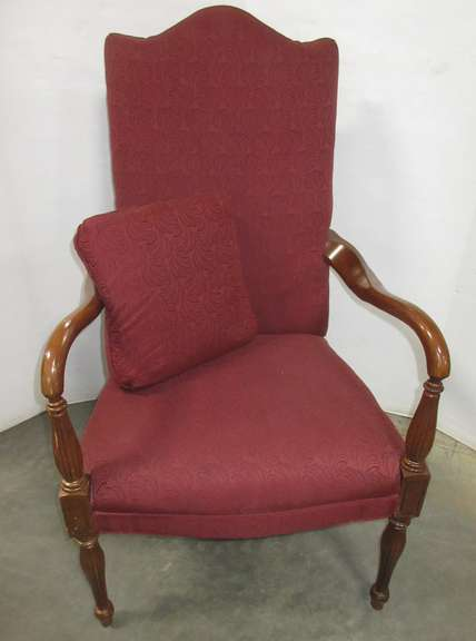 Sam Moore Furniture Co. Burgundy Jacquard Armchair from the 1980s, Virginia