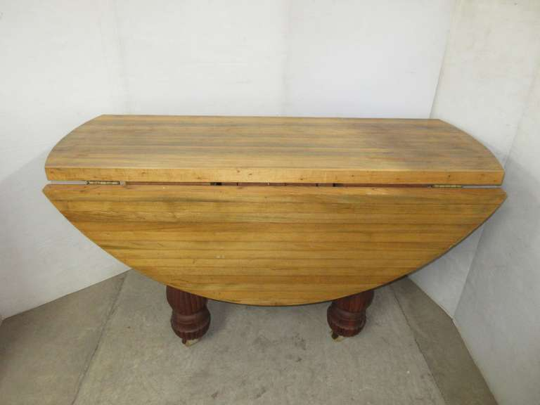 Heavy Butcher Block Kitchen Table with Fold-Down Sides