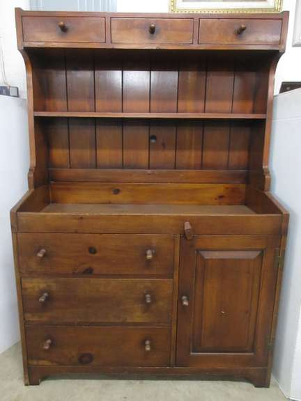 Antique Solid Wood Dry Sink and Hutch Top, Built at the Pine Shop in Big Rapids, MI