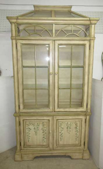 Decorative Wood/Glass Hutch with Two Glass Shelves