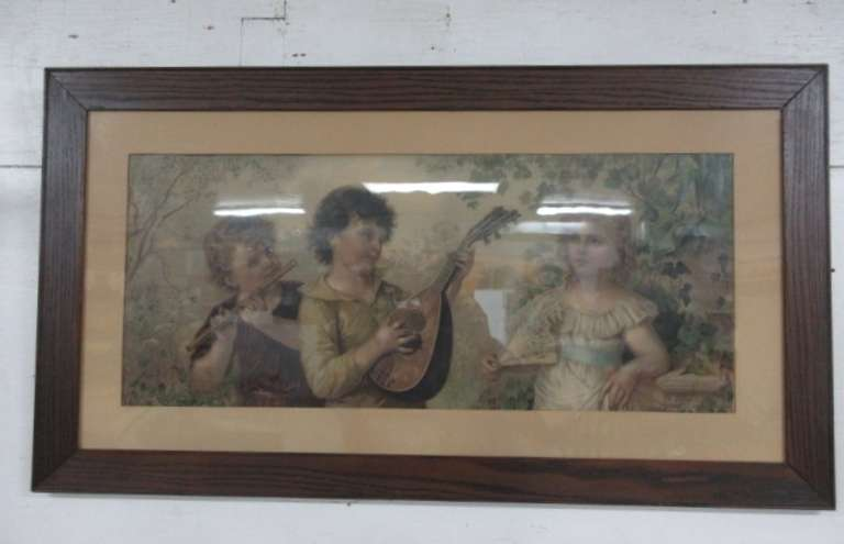 Antique Oak Frame Print, F. Leflar Copyrighted 1896, Knapp Co. Lithograph, Buffalo NY