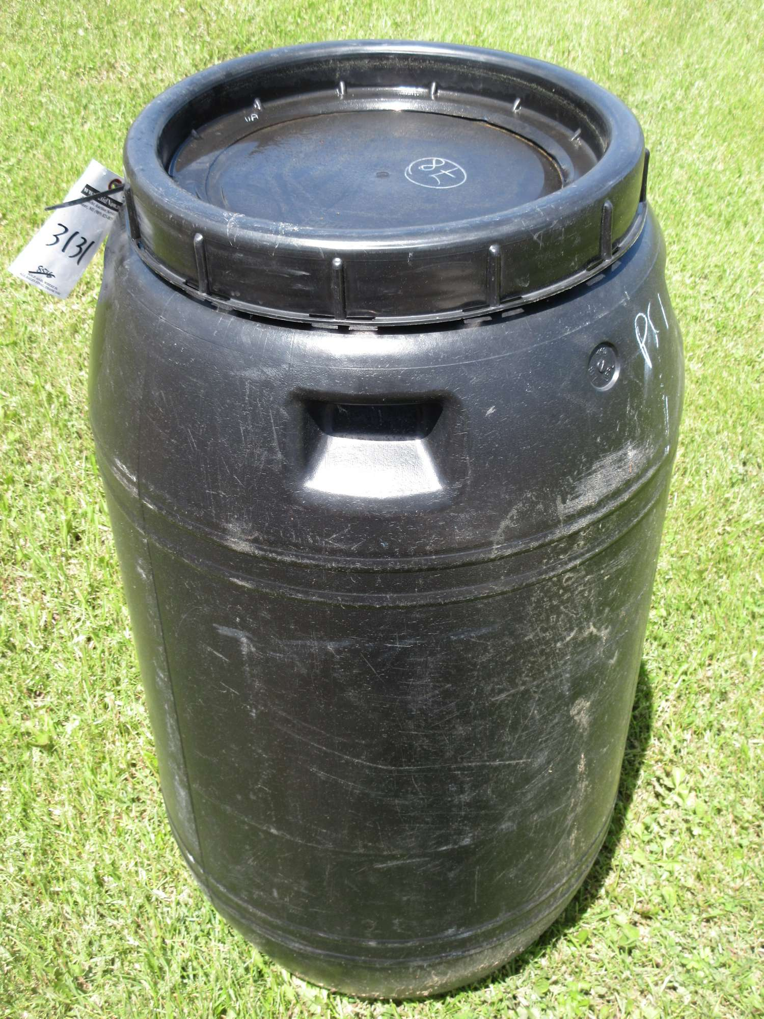 Albrecht Auctions | Black Plastic Barrel, Food Grade with Lid