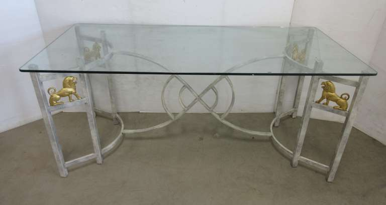 Glass Top Table with Lion Accents