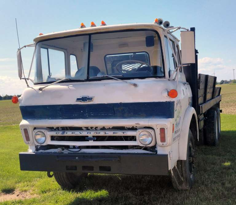 1968 Chevy Cab Over Stake Truck, Allison 5-Speed Transmission with 2-Speed Rear End Recently Replaced, 427 Gas Engine, 295/75R22.5 Front Tires, 275/80R22.5 Rear Tires All in Good Condition, Runs Well but Tends to Overheat when Runs for an Extended Time, New Radiator, Holly Carburetor, Truck Served as Water Truck for the Last 16 Years, Flat Bed is in Rough Condition but Still Usable, Clean and Clear Title
