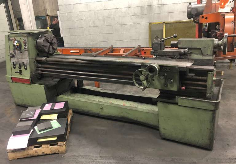 "Clausing Lathe 17"" with 12"" 6-Jaw Chuck (Chuck Needs to be Taken Apart and Cleaned), 6' Between Centers, Has Taper Attachment, No Chuck Key or Clamp for Taper Attachment, Okay to Good Condition, Runs, Sold As Is, Will Load for Buyer by Mersen"