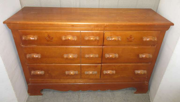 Older Six-Drawer Dresser, Solid Wood with Maple Leaves on Front