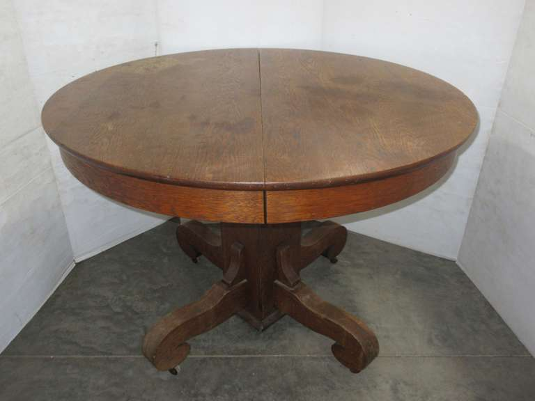 Round Dark Stained Oak Table