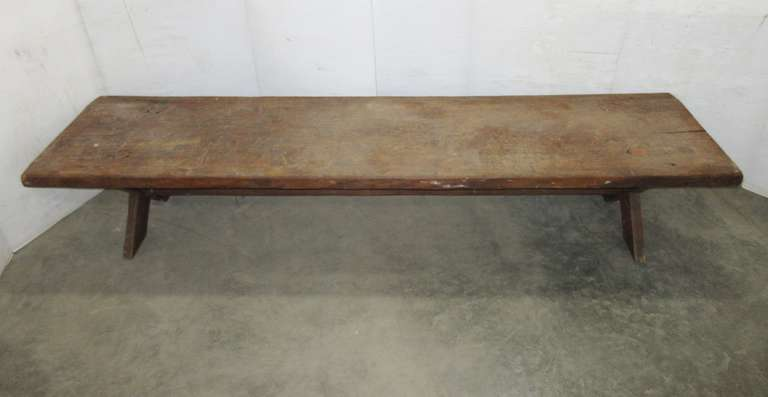 Antique Long Coffee Table, Top is Made from a Single Slab of Wood