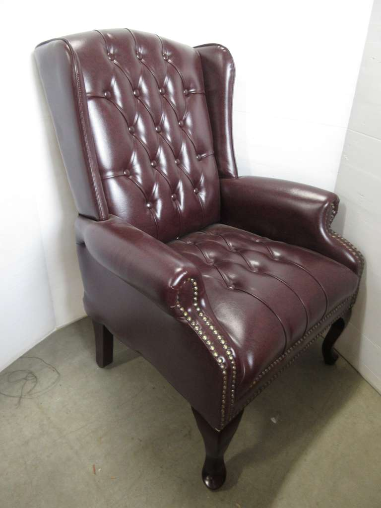 High-Back Office Chair, Button Tufted, Brown in Color, Matches Lot No. 15