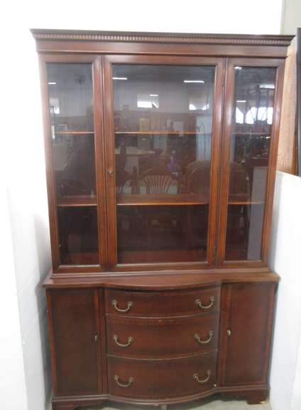 Older Three-Drawer China Cabinet with Wood Shelves