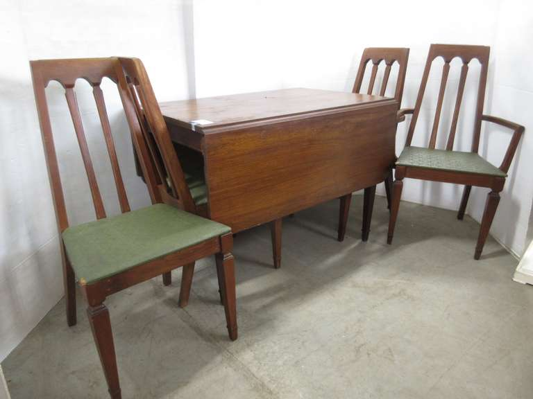 Older Drop Leaf Table with (4) Chairs, 2- Are Captain's, Made Craddock, Evansville, IN