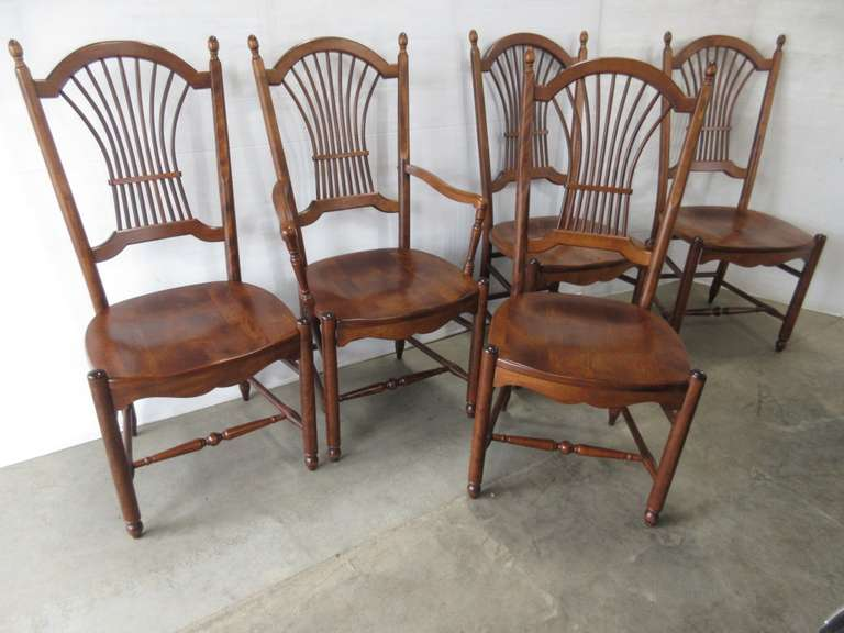 (5) Wheat Back Dining Room Chairs, Maple Wood, High End Set by Nichols and Stone