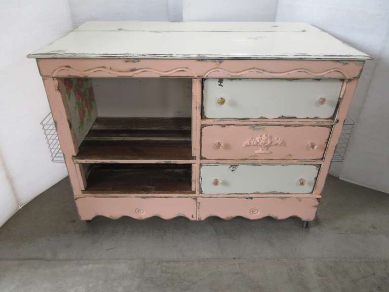 Repurposed Pink and White Island on Casters