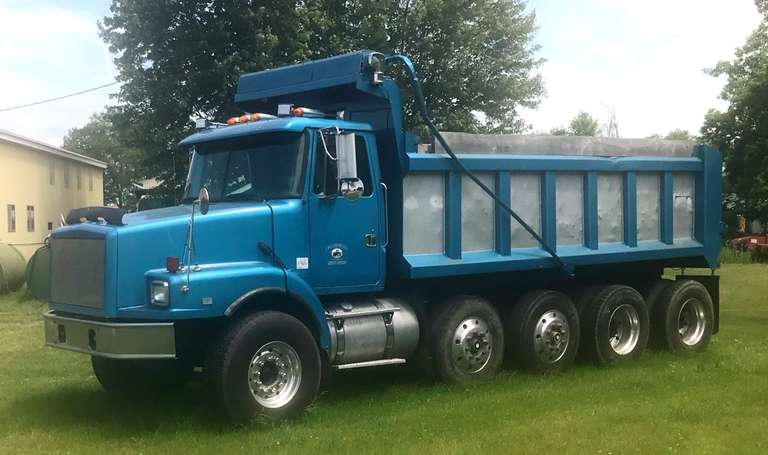 1995 Volvo GM Quad Axle Dump Truck, 370 HP, Volvo Engine, New Rear Ends and Clutch, All New Brakes, Engine Rebuilt at GOK Volvo, 9-Speed Transmission, , 18' Dump Box, New Tarp System, Excellent Condition, Clean and Clear Title