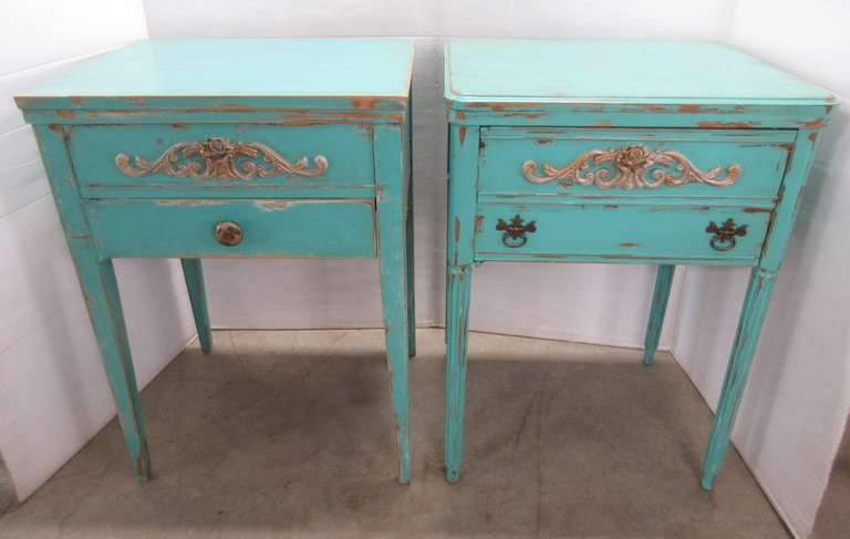 Set of Teal Nightstands, Made from Sewing Stands