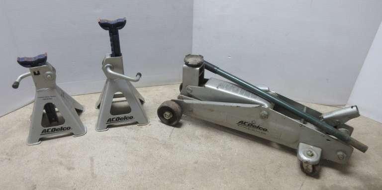 Albrecht Auctions Acdelco Floor Jack And 2 2 Ton Jack Stands