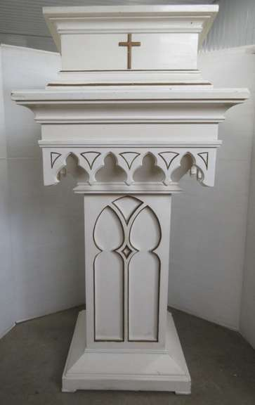Podium for Speaker from Former Church, Ornate Wood, Could be Used as a Book Display