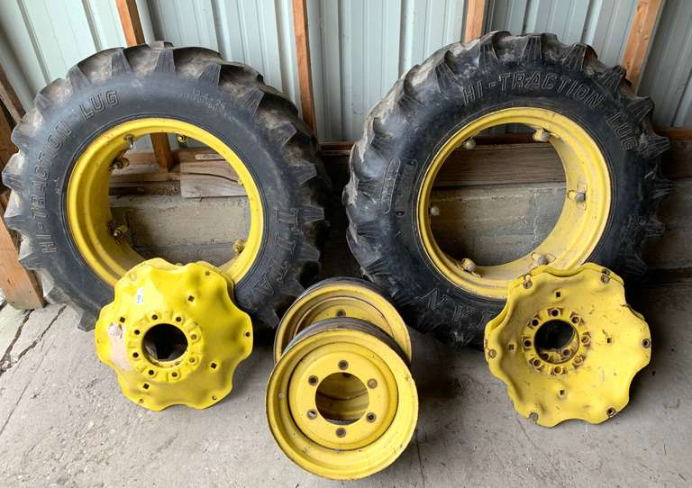 "(2) 12.4-24 Titan 6-Ply Tires, Approx. 50% Tread on John Deere Wheels; Center Discs to Fit Both SAE and Metric Axles; 16"" Front Rims Off John Deere 5520N MFWD; Rears will Fit John Deere's from 1960 to Current Models"
