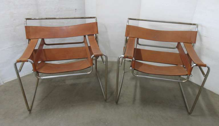 (2) Vintage 1970s Wassily Lounge Chairs, Made of Leather and Metal