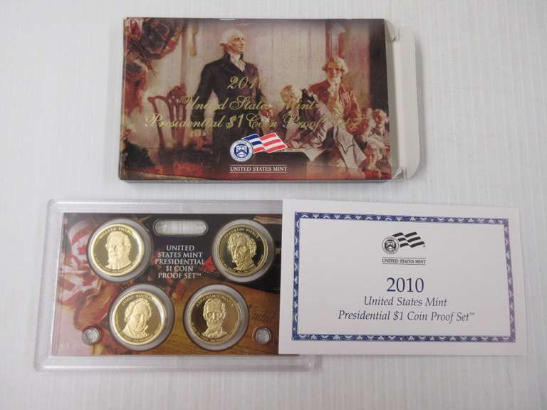 2010 Proof Presidential $1 One Dollar US Mint 4 Coin Set with Box /& COA