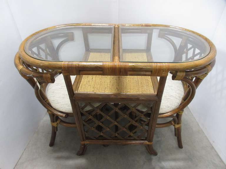 Rattan Table and (2) Chairs